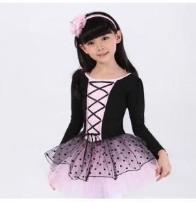Black light pink patchwork  polka dot tutu skirted leotards competition performance ballet dance dresses outfits