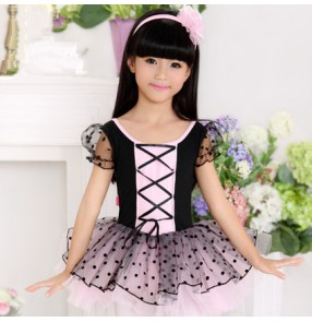 Black light pink short sleeves polka dot cotton material competition performance gymnastics tiutu ballet skating dance dresses