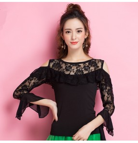Black long lace hollow shoulder sleeves women's ladies competition performance latin ballroom dance tops