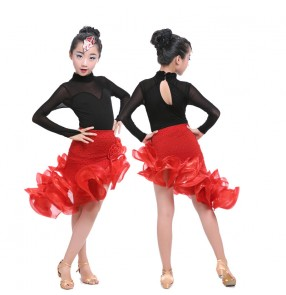 Black long sleeves leotard tops with red ruffle irregular hem skirts girls kids children latin salsa performance competition dance dresses oufits