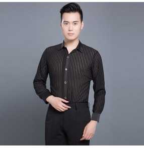 Black long sleeves striped down collar men's male competition stage performance competition spandex latin ballroom waltz chacha dancing shirts tops