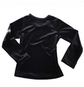 Black long sleeves velvet round neck competition gymnastics professional performance boys kids children latin ballroom dancing tops shirts