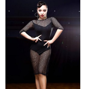 Black mesh see through fabric fashion women's ladies performance competition senior salsa samba latin dance leotards dresses