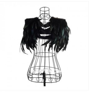 Black nature feather sexy fashion women's girls dancers singers jazz night club bar dancing performance cosplay capes waistcoats vests
