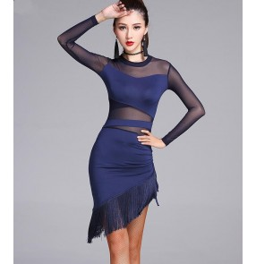 Black navy long sleeves see through front sleeves tassels fringes women's girls competition latin salsa cha cha dance dresses