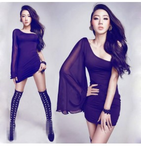 Black one inclined chiffon batwing sleeves fashion sexy women's competition singer jazz ds bar club cosplay party  stage performance dancing dresses outfits