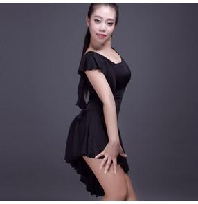 Black one shoulder long sleeves sexy fashion ladies female women's gymnastics performance latin cha cha dance dresses outfits