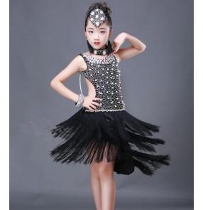 Black orange yellow white royal blue white school competition handmade professional girls kids children latin salsa dance dresses