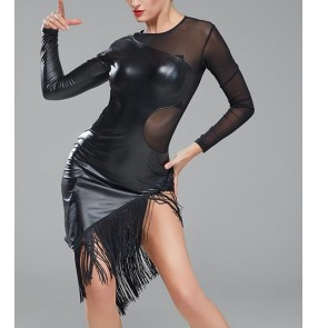 Black patent leather mesh fabric patchwork sexy fashion women's ladies fringes performance competition latin salsa cha cha dance dresses