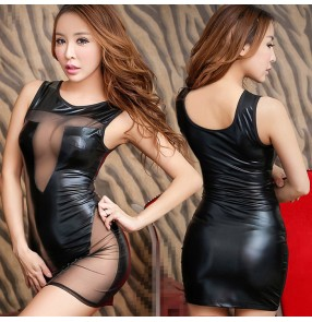 Black patent leather sexy fashion women's ladies night club bar hot dance ds jazz dancing cosplay pole dance mini dresses