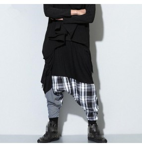 Black plaid patchwork fashion women's casual hip hop street performance dance baggy drop crotch sweatpants  harem pants