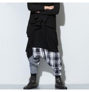 Black plaid patchwork fashion women's casual hip hop street performance dance baggy drop crotch sweatpants  harem pants