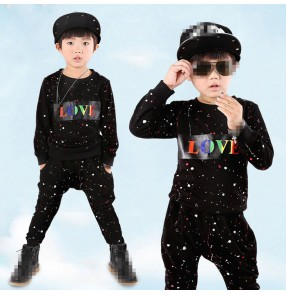 Black printed long sleeves boys kids children baby modern dance hip hop jazz drummer singer competition performance costumes outfits