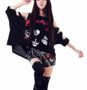 Black printed top and shorts women's girls ladies modern hip hop jazz singer  dance stage performance outfits costumes