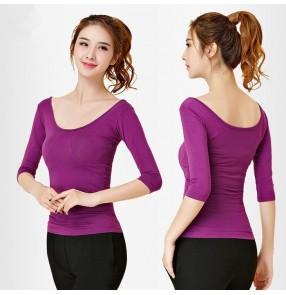 Black purple half sleeves round neck competition modern dance women's ladies gymnastics pratice ballet latin dance tops blouses