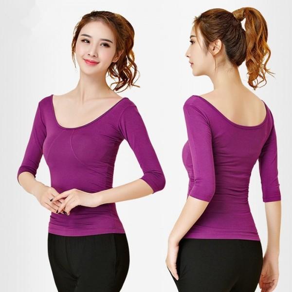 89182b938 Black purple half sleeves round neck competition modern dance ...