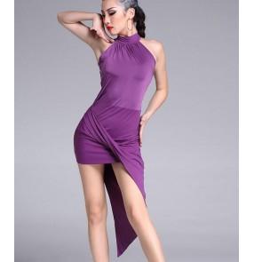 Black purple royal blue asymmetrical hem halter neck competition performance girls women's latin dance dresses outfits