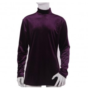 Black purple velvet long sleeves turtle neck men's male competition stage performance ballroom latin dancing tops shirts