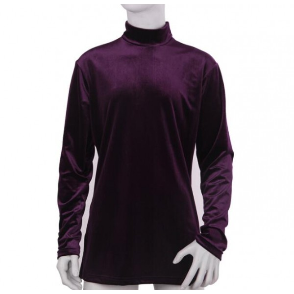 93fa3a1f71bafe Black purple velvet long sleeves turtle neck men s male competition stage  performance ballroom latin dancing tops shirts
