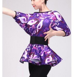 Black purple violet batwing sleeves women's ladies competition ballroom latin salsa cha cha dance tops