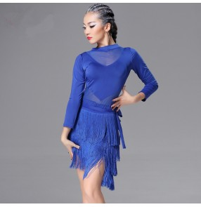Black purple violet royal blue long sleeves leotards tops women's ladies competition latin salsa  ballroom dance dresses outfits