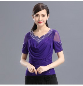 Black purple violet short sleeves lace rhinestones competition professional women's salsa latin ballroom dance tops shirts