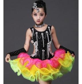 Black rainbow colored rhinestones handmade competition girls kids children ballroom latin salsa dance dresses costumes