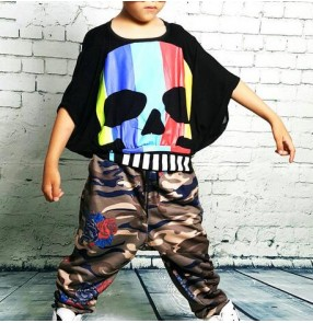 Black rainbow skull printed loose tops camouflage printed harem pants boys kids children stage performance hip hop dance costumes outfits