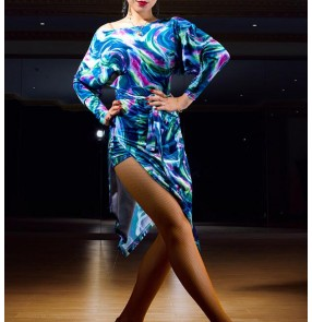 Black red blue floral printed loose batwing sleeves backless competition performance latin salsa cha cha dance dresses outfits
