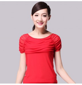 Black red bowl neck short sleeves competition gymnastics practice women's ladies girls salsa samba cha cha dance tops shirts