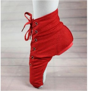 Black red canvas women's men's jazz soft soles practice exercises gymnastics performance ballet teachers dancing shoes boots