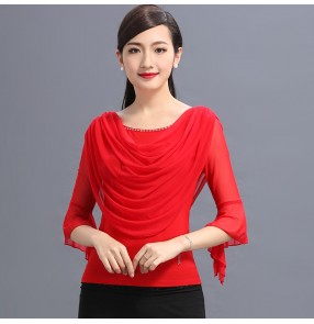 Black red draped front cowl neck competition rhinestones long sleeves women's female ballroom latin dance tops