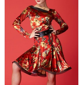 Black red floral printed long sleeves with sashes women's girls competition velvet latin salsa rumba cha cha dance dresses