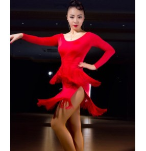 Black red fringes layers sexy fashion girls women's latin salsa cha cha dance dresses outfits costumes