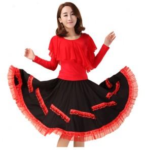 Black red fuchsia hot pink plus size performance women's latin salsa cha cha dance dresses set outfits