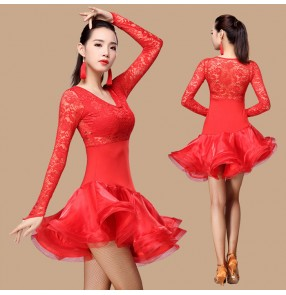 Black red fuchsia hot pink royal blue lace patchwork long sleeves ruffles skirt fashion women's ladies competition performance latin cha cha salsa dancing dresses outfits