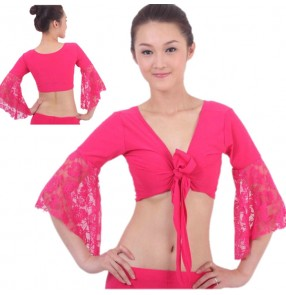 Black red fuchsia pink turquoise royal blue purple long lace flare sleeves cross front women's girls belly latin dance crop tops bra costumes