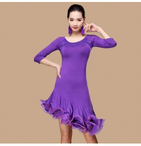 Black red fuchsia royal blue purple violet half sleeves lace patchwork women's ladies competition salsa cha cha latin dance dresses outfits