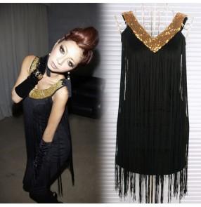 Black red fuchsia Sequins paillette fringes tassels v neck fashion sexy women's girls performance latin salsa dance dresses