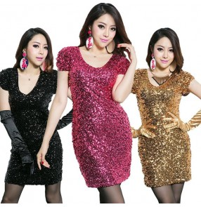 Black red gold royal blue white sequins short sleeves v neck fashion sexy women's party competition hot dance singer stage performance modern dance dresses outfits