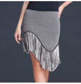 Black red gray plaid printed fringes irregular fringes hem girls women's competition latin salsa cha cha dance skirts