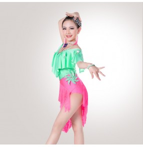 Black red green fuchsia violet white fringes rhinestones competition performance professional girls kids children latin dance dresses