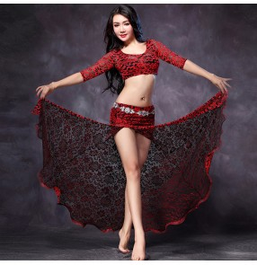 Black red hot pink fuchsia patchwork lace side split fashion sexy women's ladies Indian Egypt dancing belly dance dresses outfits