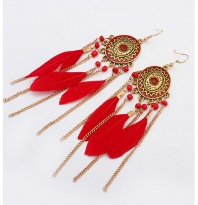Black red ivory white turquoise blue nature feather fashion women's girls dance dress long length fringes earring ear stud