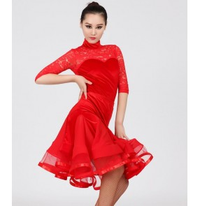 Black red lace velvet patchwork long sleeves see through back competition women's ladies ruffles skirt with leotards tops stage performance professional ballroom tango dance dresses outfits