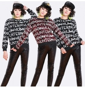 Black red letters sequins paillette fashion women's girls hip hop jazz singer performance cosplay dancing glitter tops t shirts