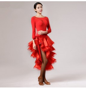 Black red microfiber women's ladies competition performance professional leotards tops wrap skirt  latin salsa samba dance dresses