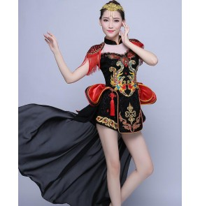 Black red patchwork chinese dragon style competition performance sequins fringes modern style jazz singer dancers costumes dresses