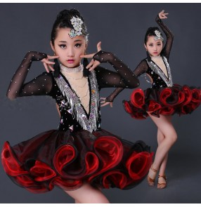 Black red patchwork long sleeves rhinestones luxury handmade girls competition ballroom latin dance dresses