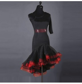 Black red patchwork one shoulder short sleeves competition women's ladies latin salsa dance dresses outfits